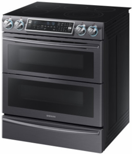 "NE58K9850WG Samsung 30"" Flex Duo 5.8 cu. ft. Slide-In Double Oven Electric Range with Self-Cleaning Convection Oven - Black Stainless Steel"