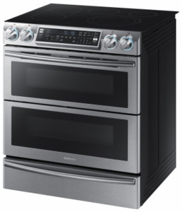 "NE58K9850WS Samsung 30"" Flex Duo 5.8 cu. ft. Slide-In Double Oven Electric Range with Self-Cleaning Convection Oven - Stainless Steel"