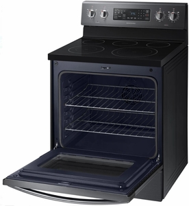 "NE59M4320SG Samsung 30"" Flex Duo 5.9 cu. ft. Freestanding Electric Range with Warming Center and Hidden Bake Element - Black Stainless Steel"