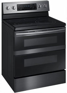 "NE59M6850SG Samsung 30"" Flex Duo 5.8 cu. ft. Slide-In Double Oven Electric Range with Steam Clean and Dual Convection - Black Stainless Steel"