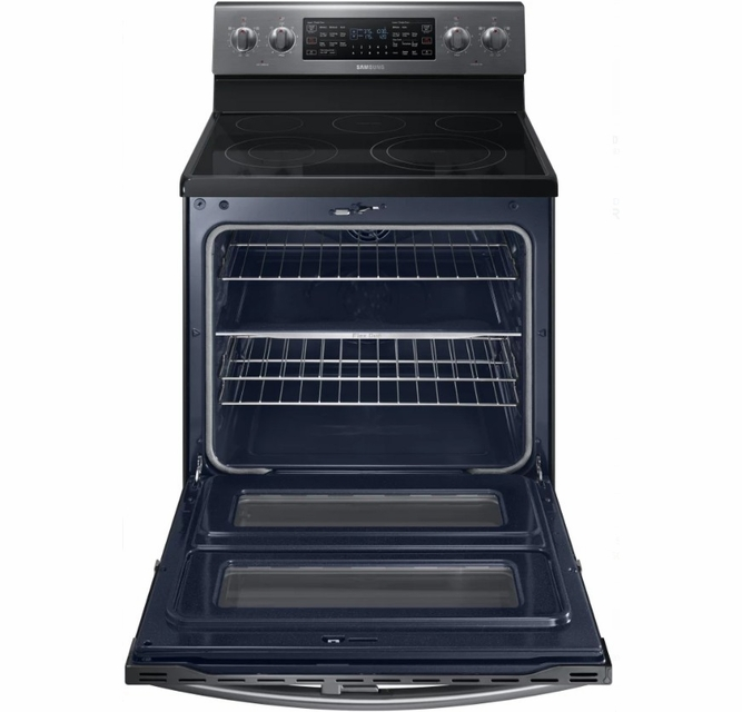 Ne59m6850sg Samsung 30 Flex Duo 5 8 Cu Ft Slide In Double Oven Electric Range With Steam Clean And Dual Convection Black Stainless Steel