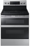 "NE59M6850SS Samsung 30"" Flex Duo 5.8 cu. ft. Slide-In Double Oven Electric Range with Steam Clean and Dual Convection - Stainless Steel"