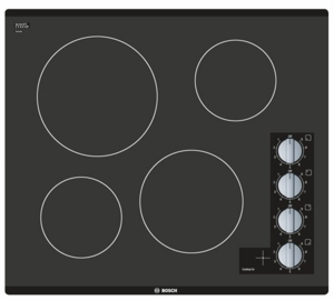 "NEM5466UC Bosch 24"" Electric Cooktop with Black-glass Seamless Design - Black"