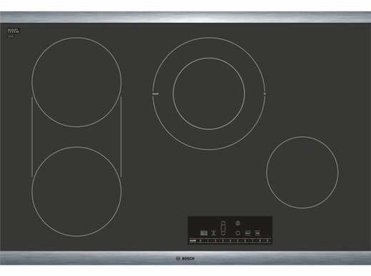 "NET8068SUC Bosch 30"" Electric Cooktop with 4 Smoothtop Burners and SpeedBoost Burner - Black with Stainless Steel Frame"