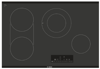 "NET8068UC Bosch 30"" Electric Cooktop with 4 Smoothtop Burners and SpeedBoost Burner - Black"