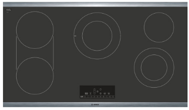 "NET8668SUC Bosch 36""  Electric Cooktop with 5 Smoothtop Burners and 2 Dual Size Elements - Black with Stainless Steel Frame"