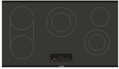 "NET8668UC Bosch 36""  Electric Cooktop with 5 Smoothtop Burners and 2 Dual Size Elements - Black Frameless"