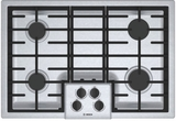 "NGM5056UC Bosch 30"" 500 Series 4 Burner Gas Cooktop with Continuous Grates and Heavy OptiSim Burner - Stainless Steel"
