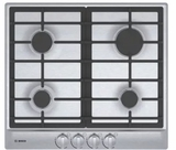 "NGM5456UC Bosch 24"" 500 Series Gas Cooktop with Continuous Grates and Heavy Duty Metal Knobs - Stainless Steel"