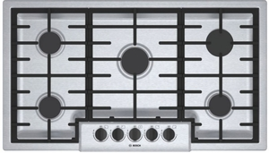 "NGM5656UC Bosch 36"" 500 Series 5 Burner Gas Cooktop with Continuous Grates and OptiSim Burner - Stainless Steel"