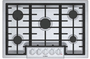 "NGM8056UC Bosch 30"" 800 Series 5 Burner Gas Cooktop with Electronic Re-ignition and OptiSim Burner - Stainless"