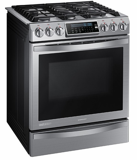 NX58H9950WS Samsung Slide-in Gas Chef Collection Range with True Convection - Stainless Steel