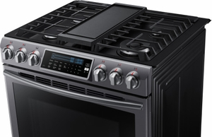 "NX58K9500WG Samsung 30"" Slide-In Gas Range with 5 Sealed Burners, 5.8 cu. ft. True Convection Oven and 18,000 BTU True Dual Power Burner - Black Stainless"