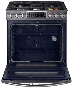"""NX58K9850SG Samsung 30"""" Flex Duo  5.8 Cu. Ft. Slide-In Gas Range with Dual Door and WiFi Connectivity - Black Stainless Steel"""