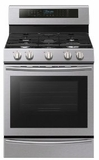 """NX58M6630SS Samsung 30"""" True Convection 5.8 cu. ft Capacity Free Standing Gas Range with Blue LED Illuminated Knobs and Touch Controls - Stainless Steel"""