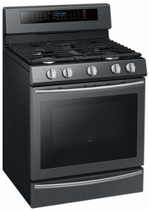 "NX58M6650WG Samsung 30"" True Convection 5.8 cu. ft Capacity Free Standing Gas Range with Blue LED Illuminated Knobs and Touch Controls - Black Stainless Steel"