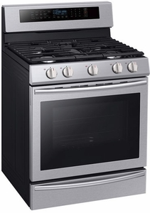 """NX58M6650WS Samsung 30"""" True Convection 5.8 cu. ft Capacity Free Standing Gas Range with Blue LED Illuminated Knobs and Touch Controls - Stainless Steel"""