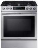 """NX58M9420SS Samsung 30"""" 5.8 cu. ft. Slide-In Gas Range with Warming Center and Griddle - Stainless Steel"""