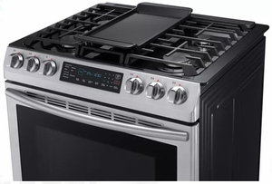 "NX58M9420SS Samsung 30"" 5.8 cu. ft. Slide-In Gas Range with Warming Center and Griddle - Stainless Steel"