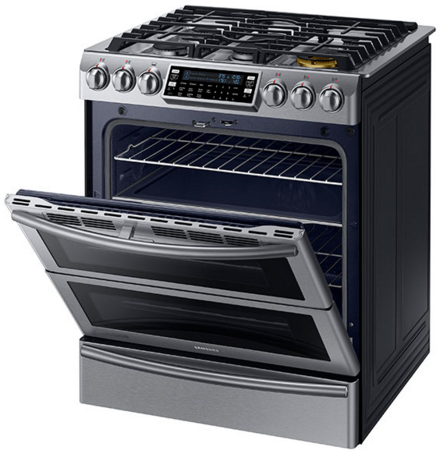 NY58J9850WS Samsung Slide-in Dual Fuel Range with Flex Duo and Dual Door - Stainless Steel
