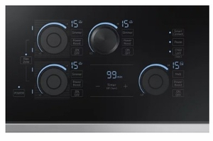 """NZ30K7880US Samsung 30"""" Induction Cooktop with 5 Induction Elements and Kitchen Timer - Stainless Steel"""