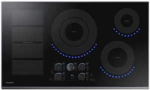 """NZ36K7880UG Samsung 36"""" Induction Cooktop with 5 Induction Elements and Kitchen Timer - Black Stainless Steel"""