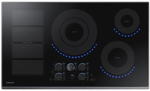 "NZ36K7880US Samsung 36"" Induction Cooktop with 5 Induction Elements and Kitchen Timer - Stainless Steel"
