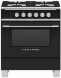 """OR30SCG4B1 Fisher & Paykel 30"""" Classic Style Gas Range with Multi-Shelf Cooking and Easy Cleaning - Black"""