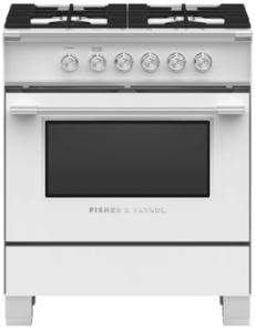 """OR30SCG4W1 Fisher & Paykel 30"""" Classic Style Gas Range with Multi-Shelf Cooking and Easy Cleaning - White"""
