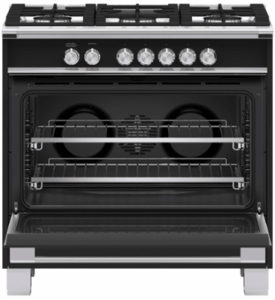 """OR36SCG4B1 Fisher & Paykel 36"""" Classic Style Gas Range with Multi Shelf Cooking and Easy Cleaning - Black"""