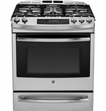 "P2S920SEFSS GE Profile Series 30"" Dual Fuel Slide-In Range with Warming Drawer - Stainless Steel"
