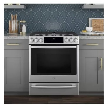 "P2S930SELSS GE 30"" Profile Series Slide-In Front Control Dual-Fuel Range with True European Convection and Wifi Connect- Stainless Steel"