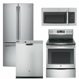 Package 10 - GE Appliance Package - 4 Piece Appliance Package with Free Microwave - Electric Range - Stainless Steel