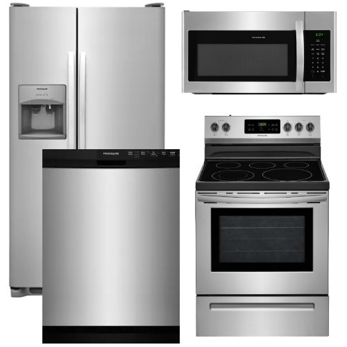 Package 13   Frigidaire Appliance Package   4 Piece Appliance Package With  Electric Range   Stainless
