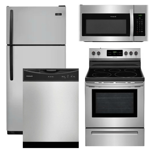 Package 15 Frigidaire Appliance Package 4 Piece Appliance Package With Top Mount Refrigerator And Electric Range Stainless Steel