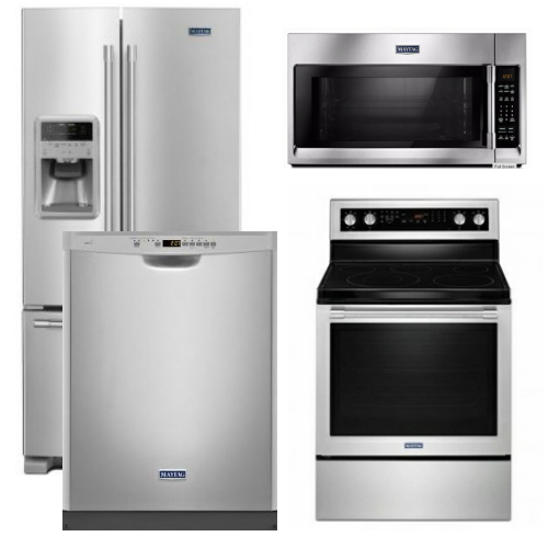 Package 28 - Maytag Appliance Package - 4 Piece Appliance Package with Electric Range - Free Microwave - Stainless Steel
