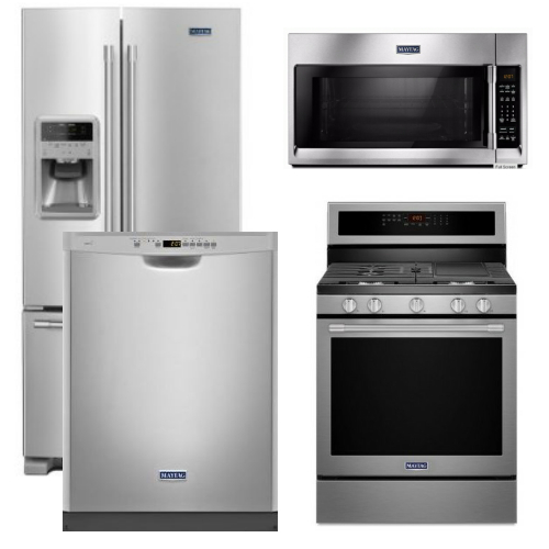 Package 29 - Maytag Appliance Package - 4 Piece Appliance Package with Gas Range - Free Microwave - Stainless Steel