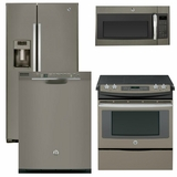 Package 38 - GE Appliance - 4 Piece Appliance Package with Free Microwave - Electric Range - Slate