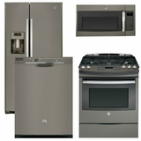 Package 39 - GE Appliance - 4 Piece Appliance Package with Gas Range - Includes Free Microwave  Slate