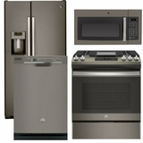 Package 39 - GE Appliance - 4 Piece Appliance Package with Gas Range - Includes Free Microwave - Slate