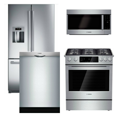 Package B4   Bosch Appliance Package   4 Piece Appliance Package With Gas  Range   Stainless Steel