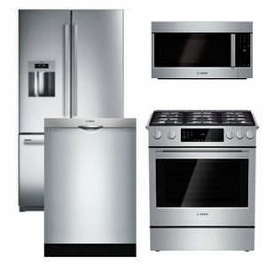 B4 - Bosch Appliance Package - 4 Piece Appliance Package with Gas ...
