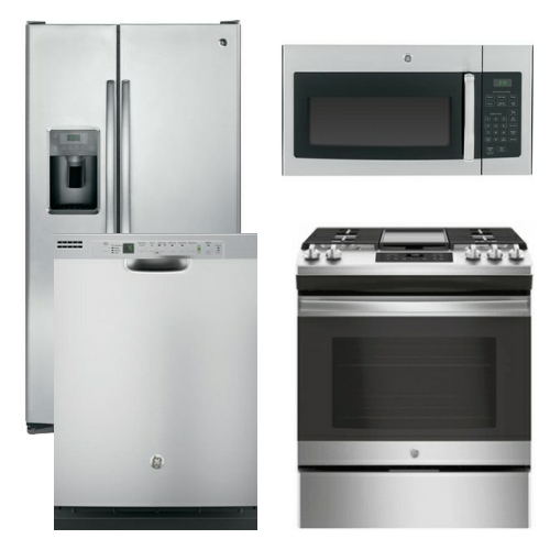 Package 5   GE Appliance Package   4 Piece Appliance Package With Gas Slide  In Range   Stainless Steel