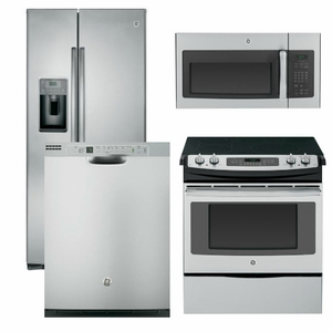 Package 6 - GE Appliance Package - 4 Piece Appliance Package with Electric Slide In Range - Includes Free Microwave- Stainless Steel