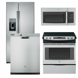 Package 6 - GE Appliance Package - 4 Piece Appliance Package with Free Microwave - Electric Slide In Range- Stainless Steel