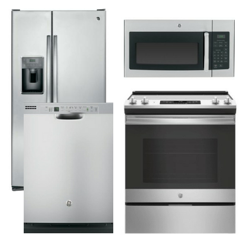 Package 6 - GE Appliance Package - 4 Piece Appliance Package with Electric Slide In Range - Stainless Steel