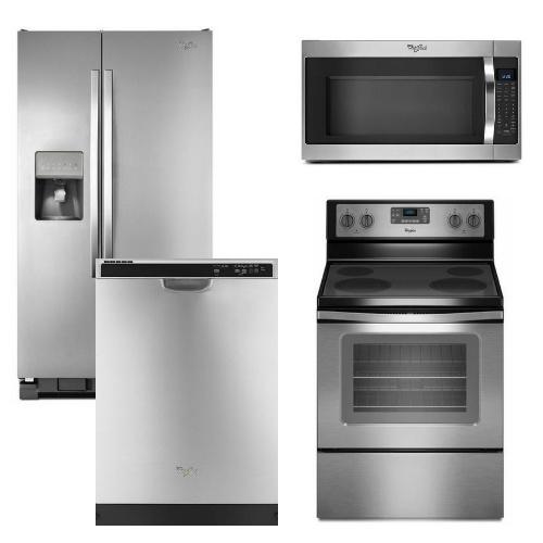 package 7 whirlpool appliance package 4 piece appliance package stainless steel electric. Black Bedroom Furniture Sets. Home Design Ideas