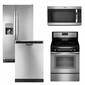 package 8 whirlpool appliance package 4 piece appliance package stainless steel gas. Black Bedroom Furniture Sets. Home Design Ideas
