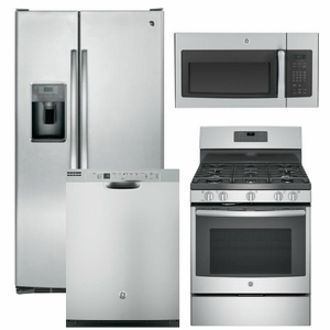 Package 9 - GE Appliance Package - 4 Piece Appliance Package with Gas Range - Stainless Steel