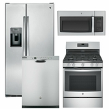 Package 9 - GE Appliance Package - 4 Piece Appliance Package with Gas Range - Includes Free Microwave - Stainless Steel